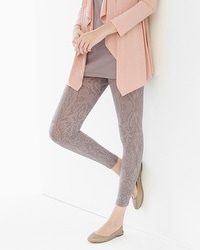 Live. Lounge. Wear. Slimming Crop Legging Crochet Scroll Taupe