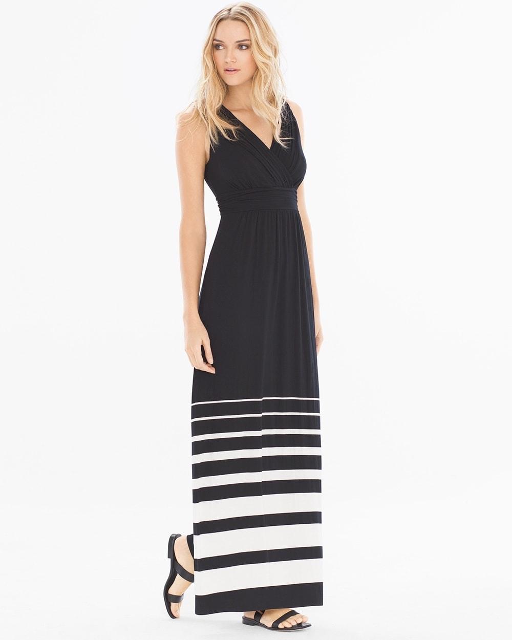 Shirred Bodice Maxi Dress Sanctuary Stripe Black Soma