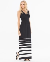 Shirred Bodice Maxi Dress Sanctuary Stripe Black