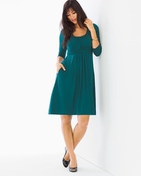 3/4 Sleeve Wrapped Waist Short Dress Deep Teal