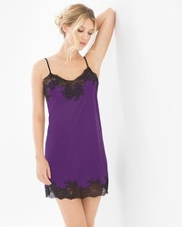Natori Slinky Lace Sleep Chemise Royal Purple