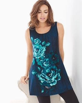 Sleeveless Soft Jersey Scoopneck Swing Tunic Lyric Floral