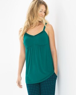 Cool Nights Satin Trimmed Pajama Cami Green Envy