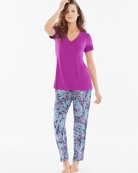 Cool Nights Ankle Pants Pajama Set Pleasant Paisley Orchid