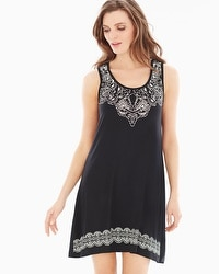 Embraceable Cool Nights Sleeveless Sleepshirt Delft Black Border