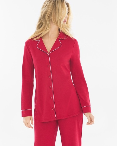 Long Sleeve Notch Collar Pajama Top Ruby