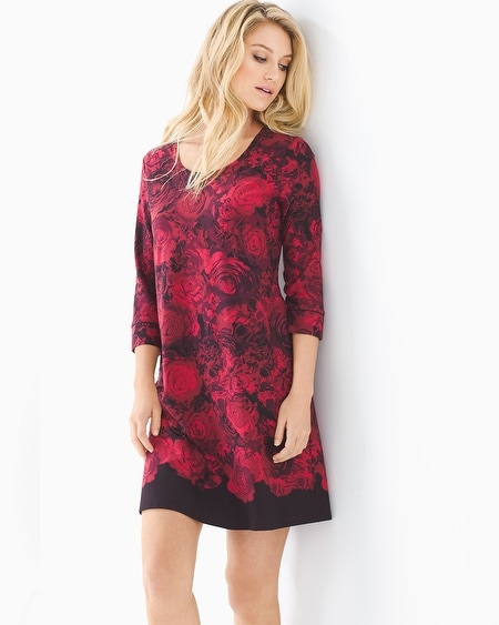 3/4 Sleeve Sleepshirt Noble Rose Border Ruby