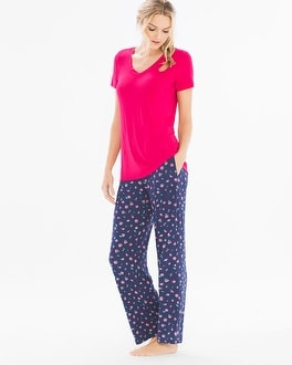 Cool Nights Short Sleeve Pajama Set Delicate Ditsy Pink Punch