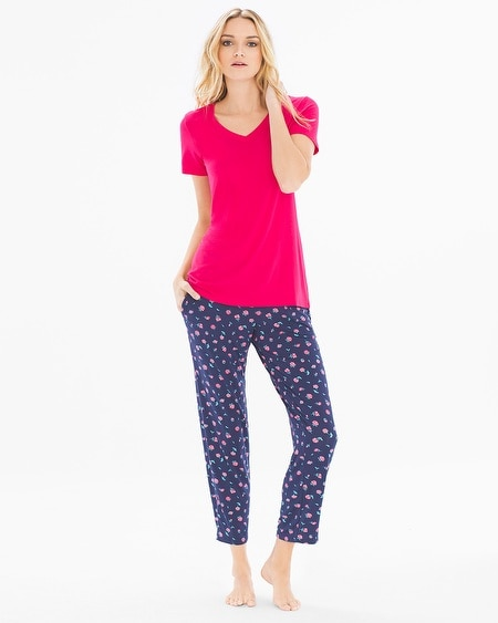 Ankle Length Pajama Set Delicate Ditsy Pink Punch