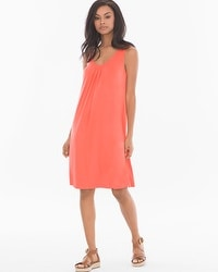 Sleeveless Pleat Front Short Dress Vivid Coral