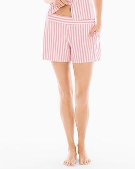 Cool Nights Full Tap Pajama Shorts Relaxed Stripe Pink Icing