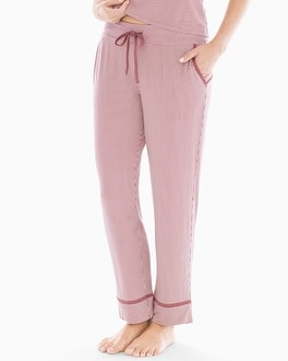 Satin Trim Ankle Pajama Pants Pin Stripe Mulberry by Cool Nights