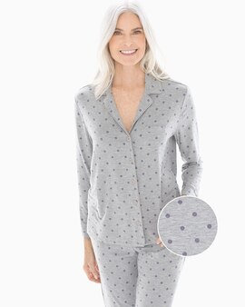 Cool Nights Long Sleeve Notch Collar Pajama Top Winsome Dot Opal Gray 13166e5cb