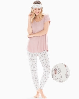 Short Sleeve Banded Ankle Pajama Set With Eye Mask Presents With Vintage Pink by Cool Nights