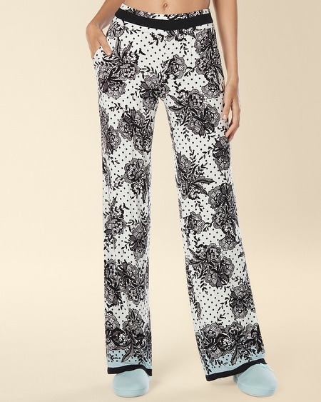 Long Inseam Pajama Pant Playful Lace Border