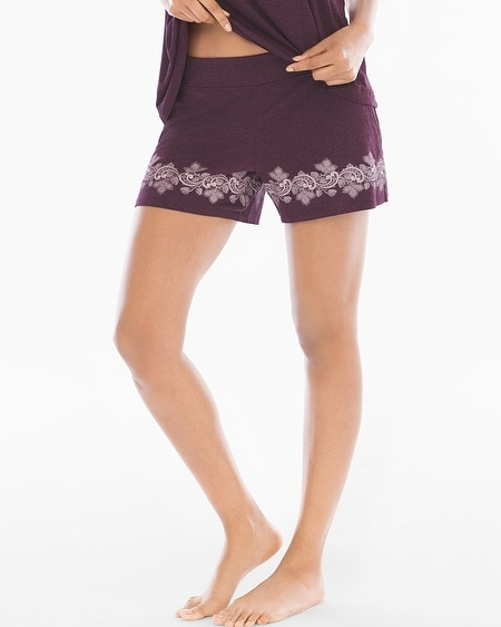 Pajama Short Luscious Lace Border Marsala