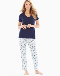 Cool Nights Ankle Pants Pajama Set In Flight Navy