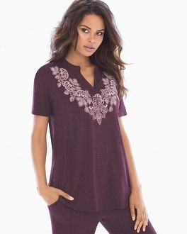 Cool Nights Pop Over Pajama Top Luscious Lace Placement Marsala