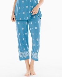 Embraceable Cool Nights Pajama Crop Pants Joyous Border Peacock