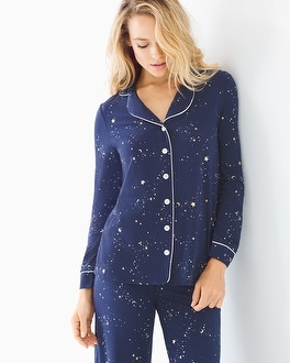 Embraceable Long Sleeve Notch Collar Pajama Top Mystical Sky Navy