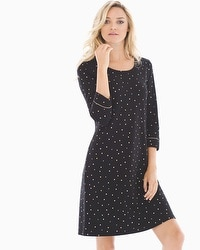 Embraceable 3/4 Sleeve Sleepshirt Festive Dot Mini Black