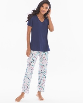 Cool NIghts Short Sleeve Pajama Set Wildflower Wind Navy