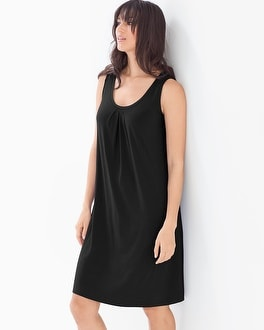 Sleeveless Pleat Front Short Dress Black