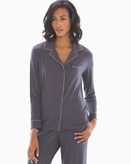Long Sleeve Notch Collar Pajama Top Nine Iron by Cool Nights