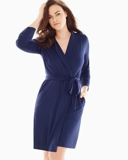Embraceable Cool Nights Short Robe Navy