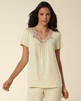 Embraceable Cool Nights Collection Yellow Cream Short Sleeve Top