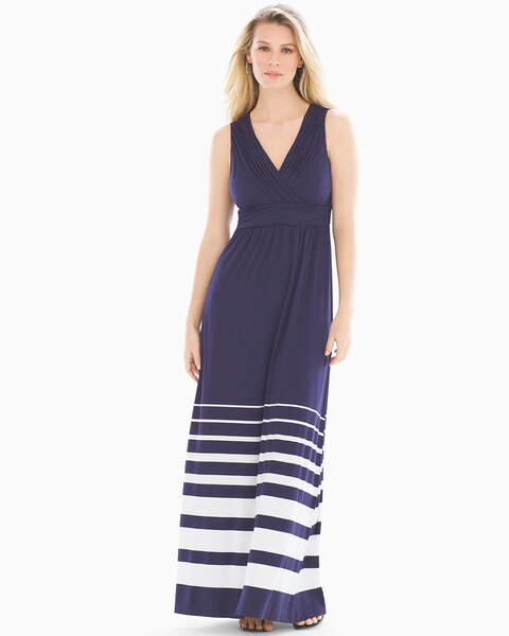 Shirred Bodice Maxi Dress Sanctuary Stripe Navy Soma