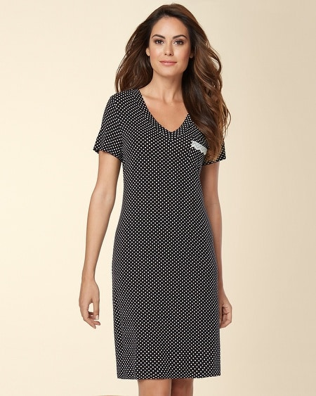 V-Neck Sleepshirt Mod Dot Black