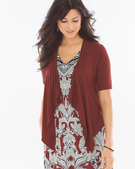 Short Sleeve Convertible Wrap Deep Fig