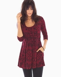 Live. Lounge. Wear. Soft Jersey Wrapped Waist Tunic Artist Scroll Allover Red