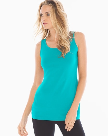 Pima Cotton Tunic Layering Tank Viridian Green