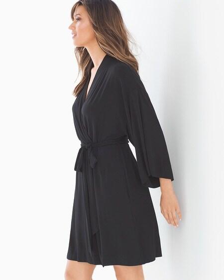 0e3b3d0698 Cool Nights Kimono Sleeve Short Robe Black
