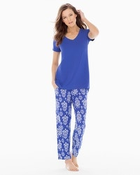Cool Nights Ankle Pants Pajama Set Bold Ikat Jewel Blue