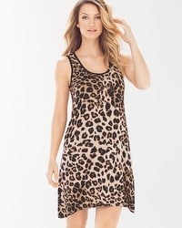 Cool Nights Sleeveless Sleepshirt Lovely Leopard Natural