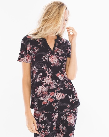 Pop Over Pajama Top Blooms Black