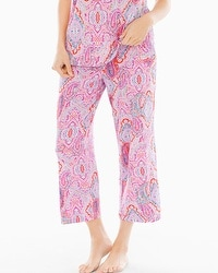 Embraceable Cool Nights Crop Pajama Pants Cape Paisley Rose Violet