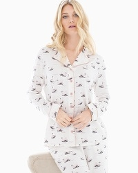 Embraceable Long Sleeve Notch Collar Pajama Top Pretty Swan Ivory