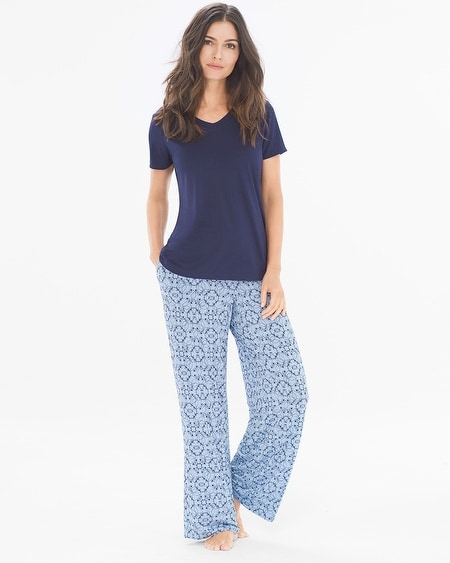 Short Sleeve Pajama Set Charming Tile Navy