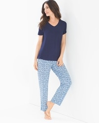 Cool Nights Ankle Length Pajama Set Charming Tile Navy