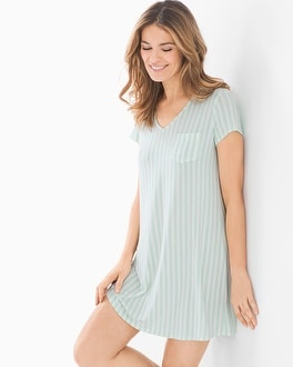Cool Nights Short Sleeve Sleepshirt Relaxed Stripe Brook by