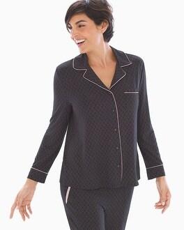 Long Sleeve Notch Collar Pajama Top Kimono Geo Black by Cool Nights