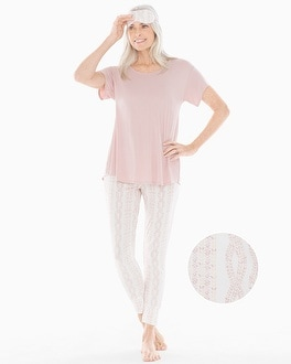 Short Sleeve Banded Ankle Pajama Set With Eye Mask Cozy Cable With Vintage Pink by Cool Nights