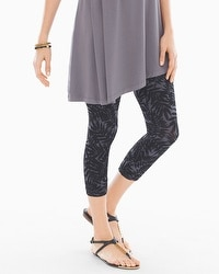 Slimming Crop Legging Painted Palm Mini Black