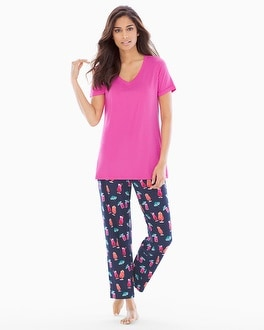 Cool Nights Ankle Pants Pajama Set Mai Tai Navy