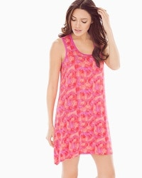 Cool Nights Sleeveless Sleepshirt Bali Palms Mini Guava