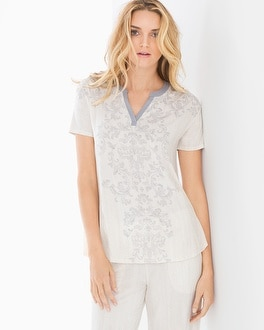 Cool Nights Pop Over Pajama Top Sublime Scroll Gray